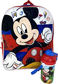 "Disney Mickey Mouse 15"" Backpack Bag & Canteen Water Bottle - 2 Piece Set"