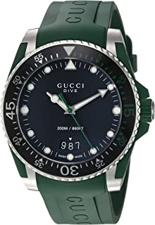 Quartz Stainless Steel and Rubber Casual Green Men's Watch(Model: YA136310)