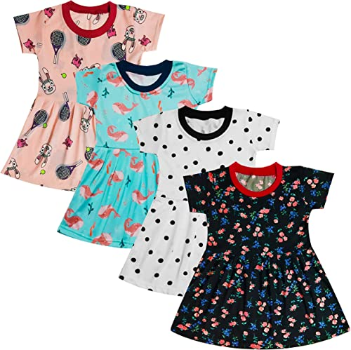 Girls Cotton Knee Length Frock Dress Girls top Suit Clothe Set for 0 Month 5 Years Pack of 4