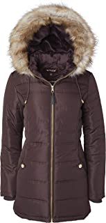 Sportoli Women's Midlength Down Alternative Puffer Coat Fur Trim Plush Lined Detachable Hood