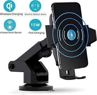 VORCSBINE Wireless Car Charger Mount,Auto-Clamping 15W/10W/7.5W Qi-Certified Fast Charging Mount(Patent), Air Vent Holder Compatible with iPhone 11/11 Pro/11 Pro Max/Xs MAX/XS/XR/X,Samsung S10/S10+