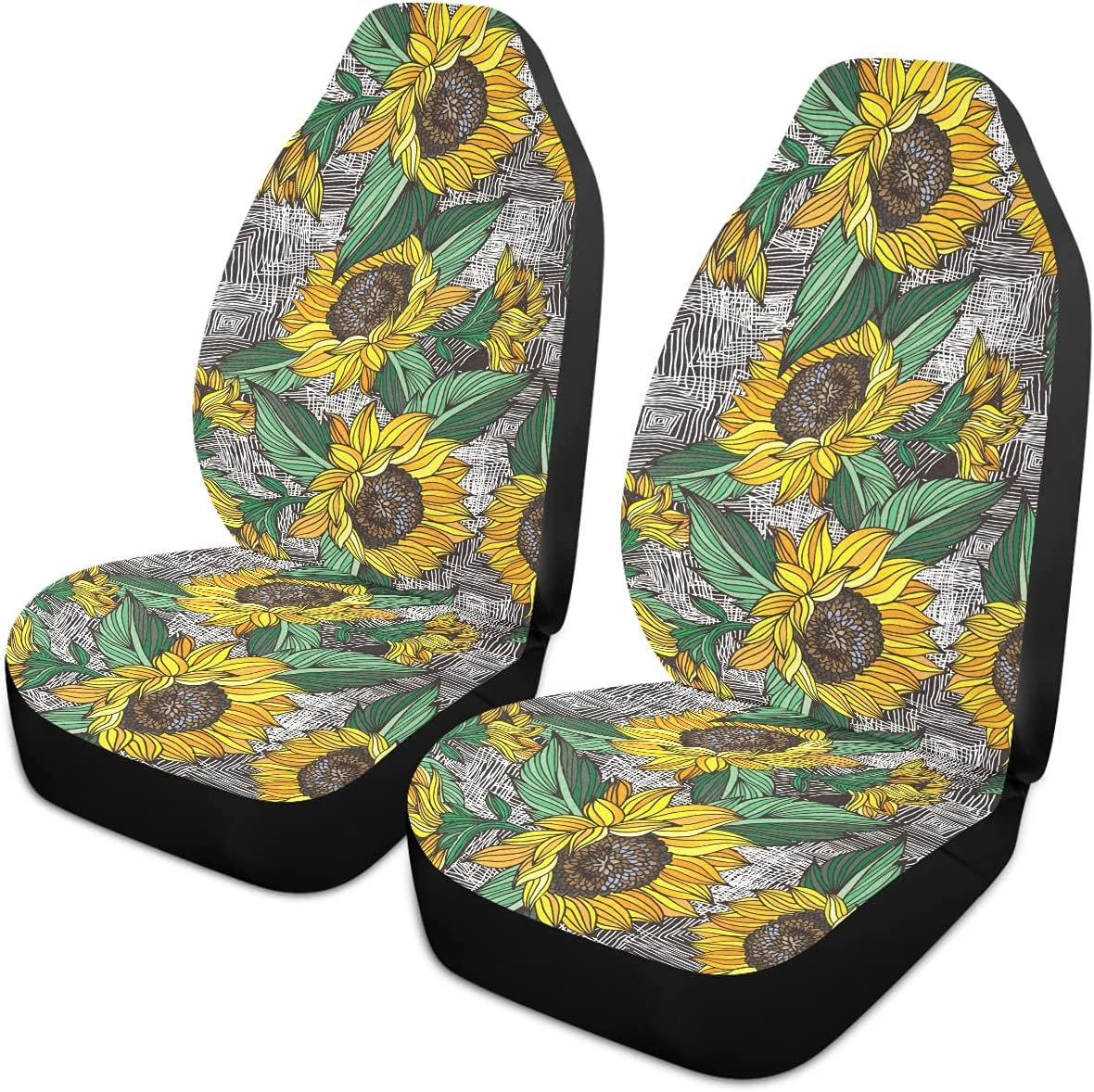 Oarencol Sunflowers Car Seat Covers White Unive Art Free Shipping Cheap Bargain Gift Line Vintage We OFFer at cheap prices