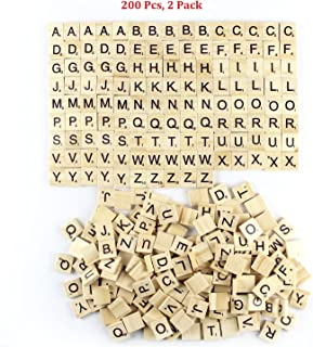 Amaonm 200 Pcs DIY Wood Letters, Letters Tiles, Scrabble Letters, Wooden Letters, Replacement Tiles, Square Letter, Tile Games Great for Crafts, Spelling, Pendants, Scrapbooking, Jewelry Making