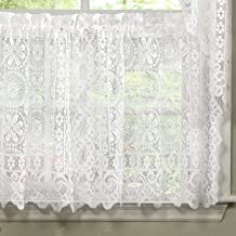 Abeautifulseller Hopewell Heavy White Lace Kitchen Curtain Choice of Tier Valance or Swag (36 Cafe/Tier Curtains)