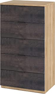 Habitdesign 0X7845F Cómoda 5 cajones, chifonier Modelo Alaya, Acabado en Color Roble Canadian y Oxido, 60 cm (Ancho) x 110 cm (Alto) x 40 cm (Fondo)