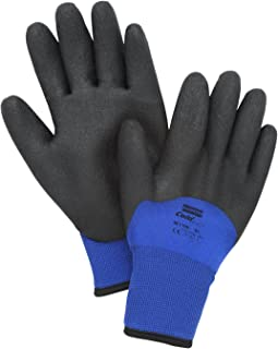 North by Honeywell NF11HD/7S NorthFlex Cold Grip NF11HD Foam PVC 3/4 Coated Insulated Gloves, Nylon, Size 7, Black/Blue