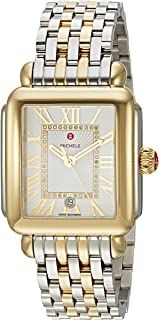 Michele Womens Deco Madison Two-Tone, Diamond Dial Watch