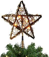 Christmas Tree Toppers with 10 Lights,Indoor Rattan Natural Star Treetop for Christmas Tree Decoration and Holiday Seasona...
