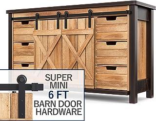 Hahaemall Black Heavy Bearing Metal Super Mini Sliding Door Roller Track Hardware Hang Cabinet Room Storage Rail System (6...