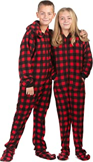 Hoodie Footed Onesie Buffalo Red & Black Plaid Fleece Footed Pajamas for Boys & Girls