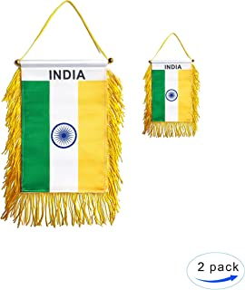 GentleGirl.USA 2 Pack India Car Flag Indian Window Hanging Flag, With Stick no Suction Cup Small Mini India Rearview mirror Banner Flags, International Festival Party Parade,car Home Decoration