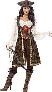 Smiffys- Disfraz de moza Pirata de Alta mar, con Vestido, Pantalones y tahalí, Color marrón, L - EU Tamaño 44-46 (Smiffy'S 26225L)