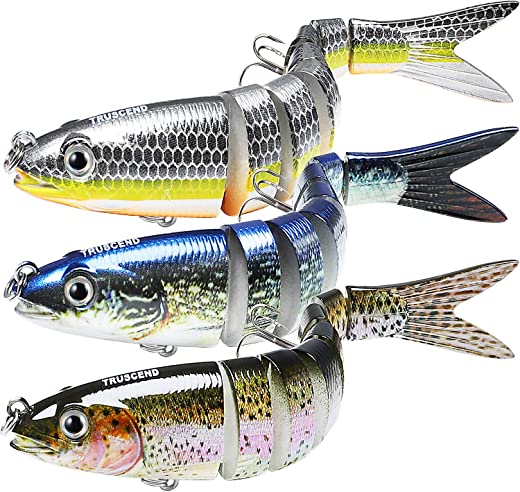 TRUSCEND Fishing Lures for Bass Trout Multi Jointed Swimbaits Slow Sinking Bionic Swimming Lures Bass Freshwater Saltwater Bass Lifelike Fishing Lures Kit