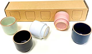 Shot Glass Set for Sake n Soju, 5 Piece Handcrafted Ceramic Pottery Porcelain Sake Cups ,Traditional Korean Hand Painted Cordial Glasses. Ideal for Coffee Espresso, Tea, Parties, Housewarming