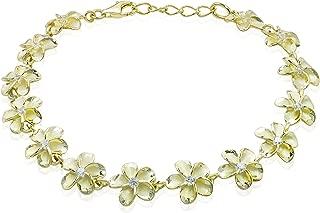 Honolulu Jewelry Company 14k Yellow Gold Plated Sterling Silver Plumeria Bracelet with CZs - 10mm