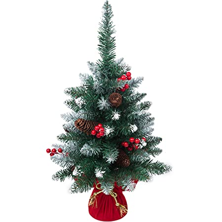 1ft Mini RED berry decorated Christmas Xmas tree 25cm desktop table top