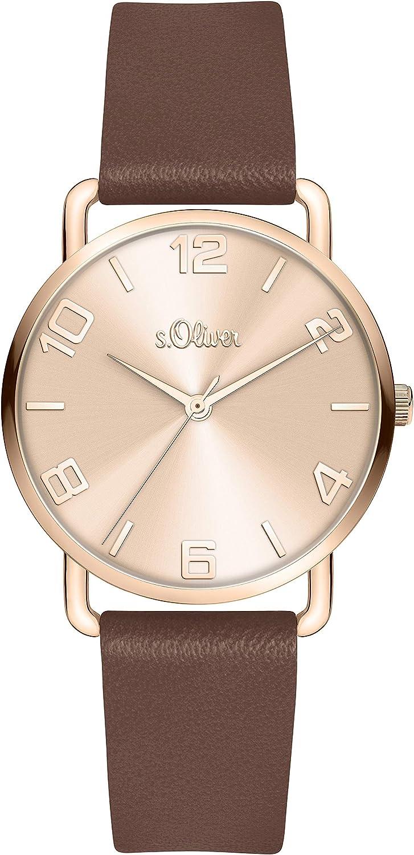 s.Oliver Reloj para Mujer de Cuarzo analógico con Correa en Cuero sintético SO-4147-LQ