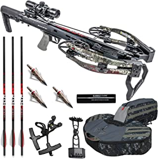 Killer Instinct Crossbows Furious Pro 9.5 400 FPS Crossbow Hunter's Kit (Camo) Bundled with Backpack Case, NAP Broadheads, 3 Arrows, Quiver, Rope Cocker, Rail Lube, and IR Scope (3 Items)