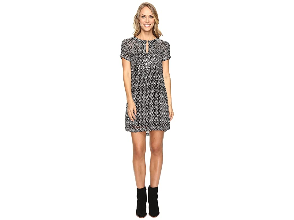 Lucky Brand Embellished Shift Dress (Black Multi) Women