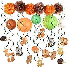 PAPER JAZZ Woodland Animal Swirl Party Decoration Pack for Birthday babyshower