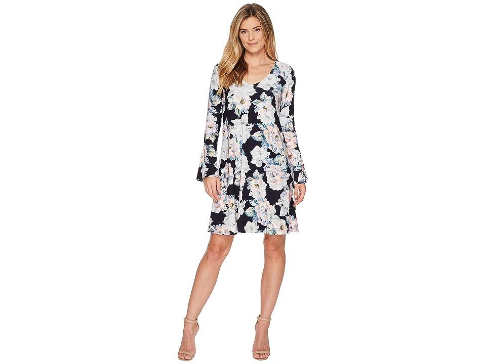 Karen Kane Flare Sleeve Taylor Dress (Floral 1) Women