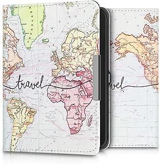 kwmobile Case for Tolino Shine 2 HD - Book Style PU Leather Protective e-Reader Cover Folio Case - Black/Multicolor