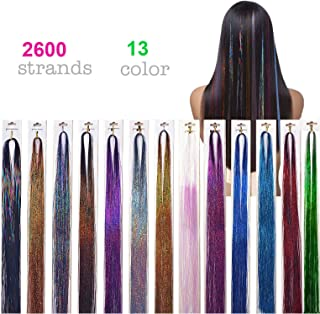 2600 Strands Hair Tinsel 40'' Glitter Hair Extensions Sparkling Tinsel Hair Extensions for Party Highlight Hair Extensions 13 Colors