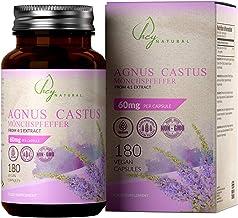 HN Vitex Agnus Castus 60mg 180 Capsulas Veganas de Alta Resistencia | Sauzgatillo para Apoyar los Sintomas de la Sindrome Premenstrual, Menopausia y la Fertilidad Femenina | Rellenos Limpios, Sin OGM