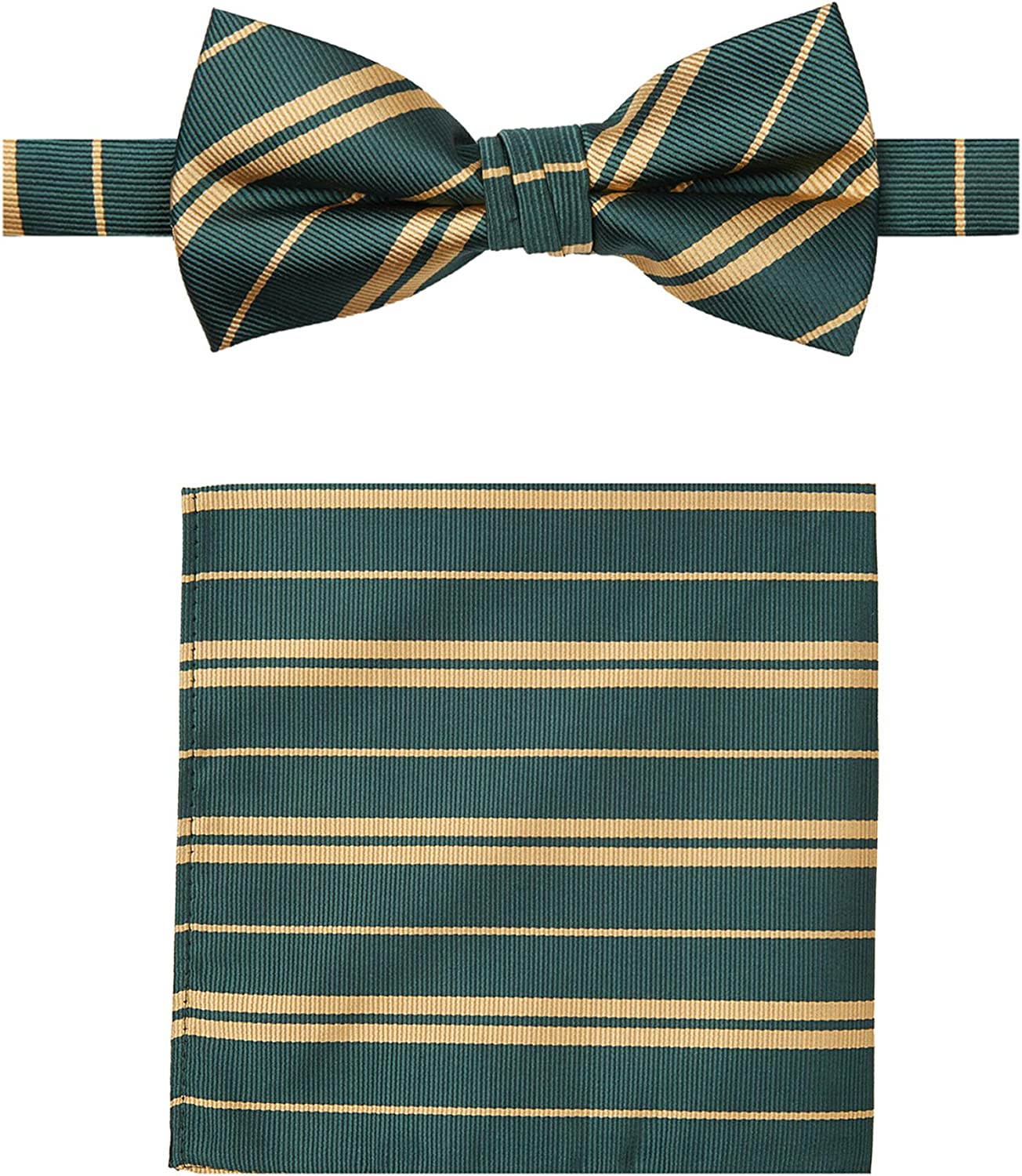 Jacob Alexander Woven Double Stripe Men's Pre-Tied Banded Bow Tie and Pocket Square Set