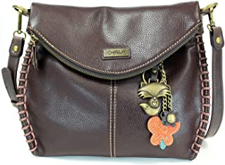 Charming Crossbody Bag with Zipper Flap Top and Metal Chain - Dark Brown