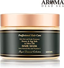 Aroma Premium Hair Mask - 600ml, Honey Egg Yolk Olive Oil Dry Hair Mask for Women – Natural Scalp & Root Treatment for Damaged Ends – Natural Ingredients & Dead Sea Minerals – Moisturizes & Hydrates