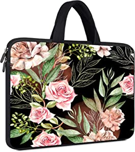 11.6-12.5 inches Laptop Sleeve Chromebook Rose Case for MacBook Air 11/Surface Pro X 7 6,Acer HP Samsung Chromebook 4 3 Neoprene Slim Tablet Cover Bag, 11.6