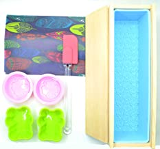 FantasyDay DIY Soap Making Tool Set, Silicone Rectangular Soap Mold with Wood Box and Wood Lid with 4 Silicone Mold, Oil P...