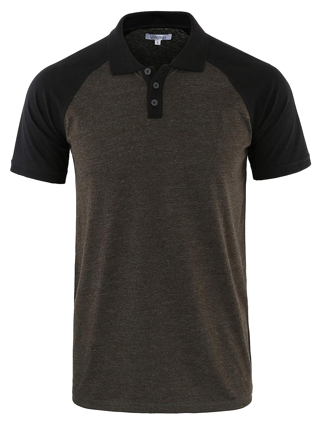 Vetemin Mens Casual Retro Short Sleeve Active Raglan Jersey Polo Henley T Shirt