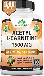 Acetyl L-Carnitine 1,500 mg High Potency Supports Natural Energy Production, Supports..