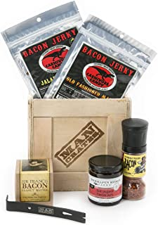 Man Crates Bacon Crate – Includes 5 Awesome Bacon-Flavored Snacks Like Maple Bacon Jerky, Bacon Seasoning and More – Great Gifts for Men