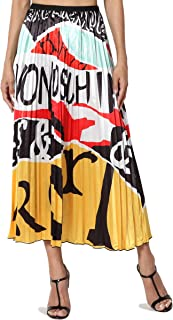TheMogan Solid or Printed Mesh Overlay Elastic Waist Pleated A-Line Long Maxi Skirt