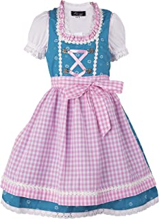 Ramona Lippert Kinderdirndl Nina, Türkis Rosa - 3-teiliges Trachtenkleid Dirndl für Mädchen