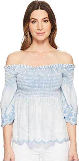 Linen Denim Tencel® Smocked Off-The-Shoulder Top
