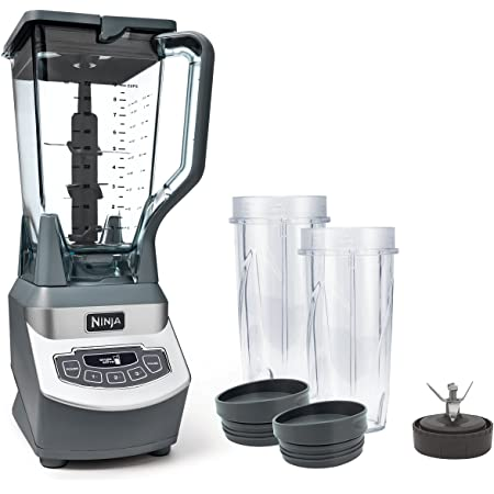 Ninja BL660 Professional Countertop Blender with 1100-Watt Base, 72 Oz Total Crushing Pitcher and (2) 16 Oz Cups for Frozen Drinks and Smoothies, Gray