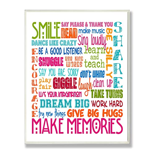The Kids Room By Stupell Smile Make Memories Rainbow Rectangle Wall Plaque,  11 X 0.5