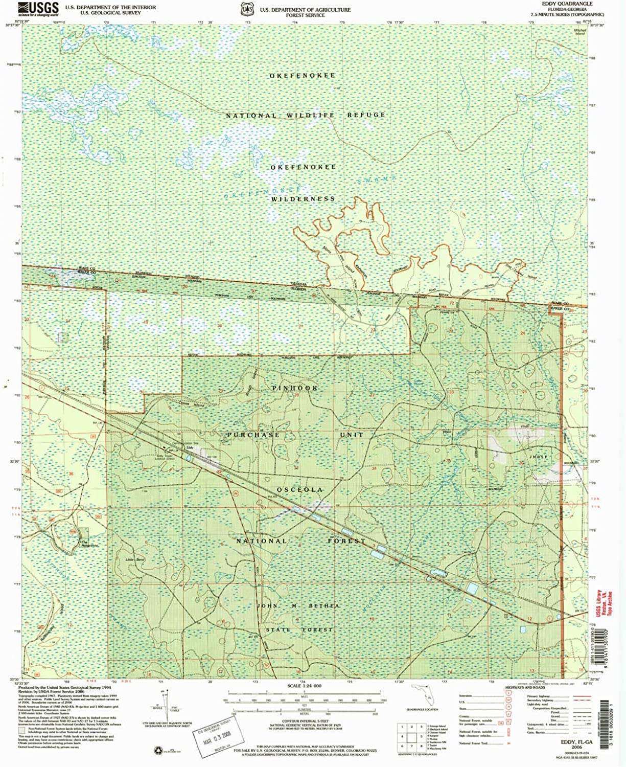 Eddy FL topo map, 1 24000 Scale, 7.5 X 7.5 Minute, Historical, 2006, Updated 2007, 26.8 x 22 in