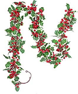 LSKYTOP 6.5Ft/Pc Christmas Red Berry Garland, Artificial Foliage Greenery Fireplace Décor & Home Xmas Decoration Indoor/Ou...