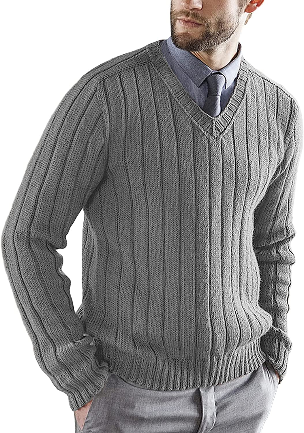 Mens V-Neck Pullover Sweater Long Sleeves Regular Fit Cable Knit Stylish Knitwear Cotton Sweaters