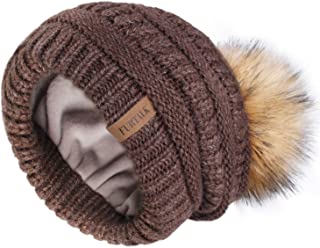 Womens Slouchy Winter Knit Beanie Hats Double Layer Chunky Hat Bobble Hat Ski Cap