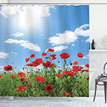 Ambesonne Poppy Decor Collection, Red Poppies on Green Field Grassy Sunshine Rays Wild Plants Herbs Botany Image, Polyester Fabric Bathroom Shower Curtain, 75 Inches Long, Blue Red Green