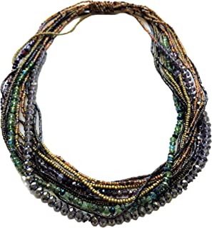 Mayan Arts Multi Strand Beaded Necklace, Multi Color, Purple and Gold Tones, Sparkly Beads, Women Necklaces, Jewelry, Magnetic Clasps, 19.5 Inches Long