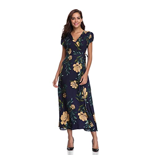 cd2cffcd7da2 Floating Time Women's Floral Print Short Sleeve Maxi Wrap Dress