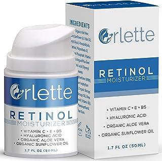 Orlette Retinol Moisturizer - Anti Aging Firming Facial Cream - Reduce Wrinkles, Dark Spots, Fine Lines, Sun Damage - Hydrating Formula with Organic Aloe Vera, Sunflower Oil, Hyaluronic Acid - 50ml