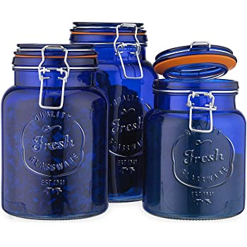 Amazon Com Glass Canister Fresh Quality Set Of 3 Cobalt Blue Round Jars With Hermetic Seal Bail Trigger Airtight Lock Lids For Kitchen Pantry Food Storage Containers Home Improvement